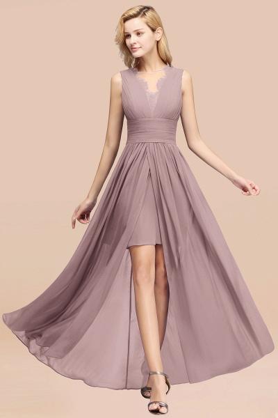 BM0835 Lace Chiffon Jewel Sleeveless Ruffles Short Bridesmaid Dress_37