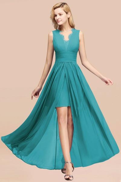 BM0835 Lace Chiffon Jewel Sleeveless Ruffles Short Bridesmaid Dress_49