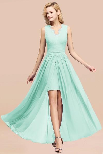 BM0835 Lace Chiffon Jewel Sleeveless Ruffles Short Bridesmaid Dress_36