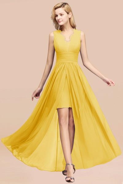 BM0835 Lace Chiffon Jewel Sleeveless Ruffles Short Bridesmaid Dress_17