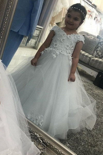 Long A-line Off the shoulder Tulle Lace Flower Girl Dresses with Cap sleeves