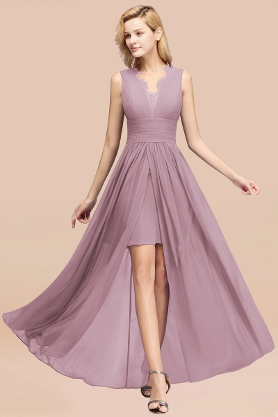BM0835 Lace Chiffon Jewel Sleeveless Ruffles Short Bridesmaid Dress_43