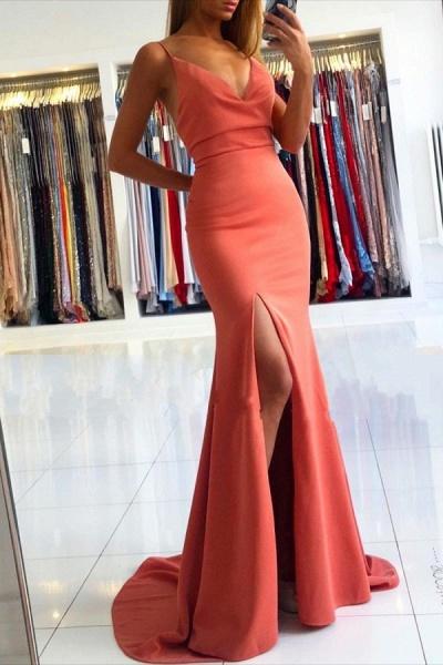 Simple Long Mermaid V-neck Open Back Prom Dress with Slit
