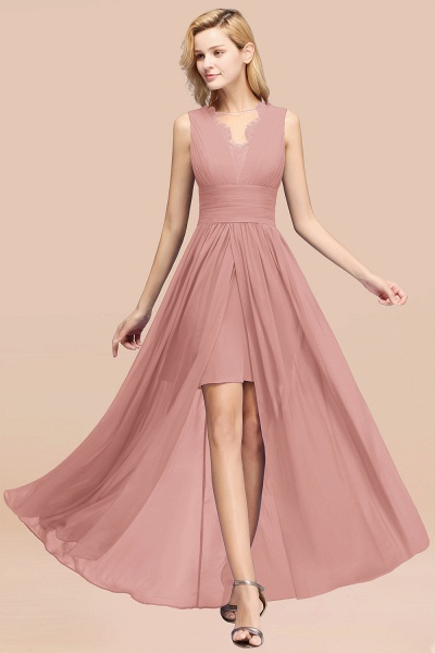 BM0835 Lace Chiffon Jewel Sleeveless Ruffles Short Bridesmaid Dress_50