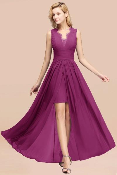 BM0835 Lace Chiffon Jewel Sleeveless Ruffles Short Bridesmaid Dress_42