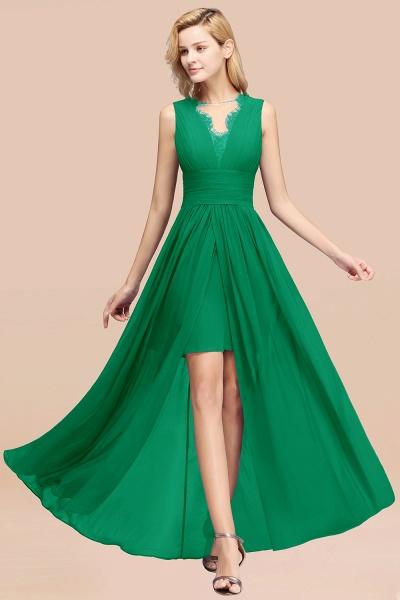 BM0835 Lace Chiffon Jewel Sleeveless Ruffles Short Bridesmaid Dress_32