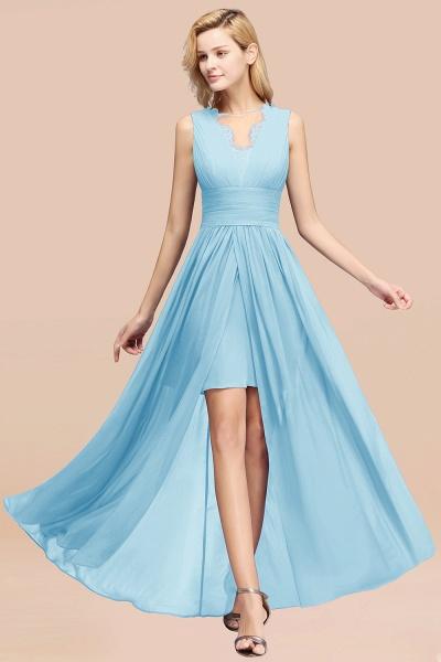 BM0835 Lace Chiffon Jewel Sleeveless Ruffles Short Bridesmaid Dress_23