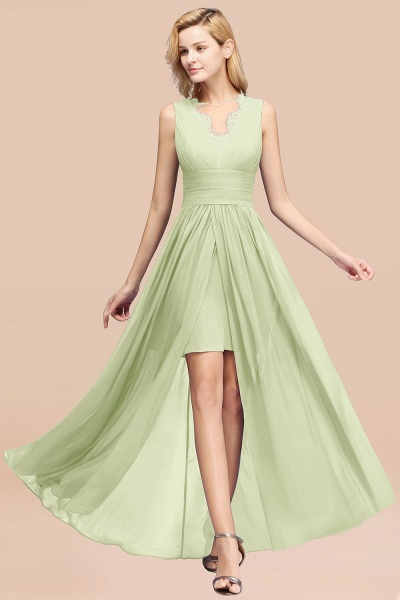 BM0835 Lace Chiffon Jewel Sleeveless Ruffles Short Bridesmaid Dress_35