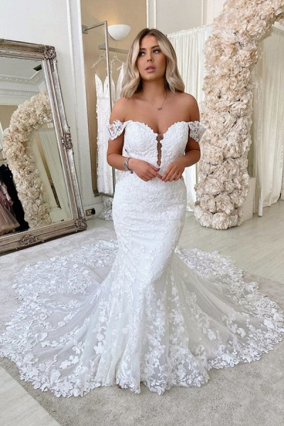 Long Mermaid Off-the-shoulder Lace Backless Wedding Dress
