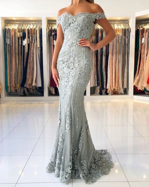 Modest Long Mermaid Off-the-shoulder Glitter Prom Dress_3