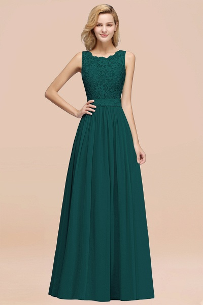 BM0834 Chiffon A-Line Lace Scalloped Sleeveless Long Ruffles Bridesmaid Dress_33