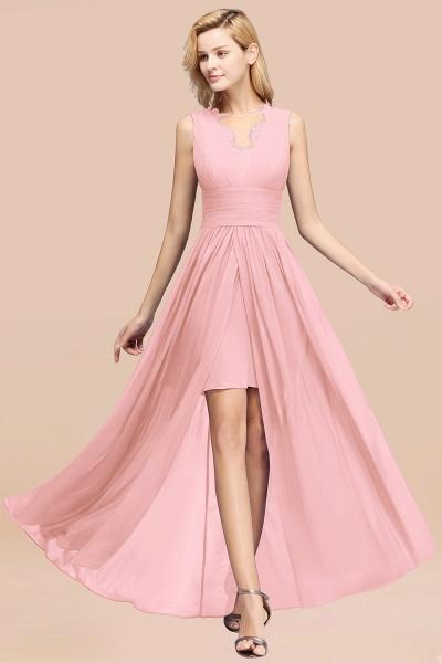 BM0835 Lace Chiffon Jewel Sleeveless Ruffles Short Bridesmaid Dress_4
