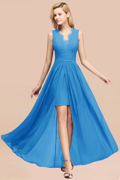 BM0835 Lace Chiffon Jewel Sleeveless Ruffles Short Bridesmaid Dress_25