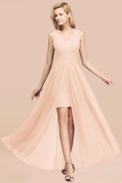BM0835 Lace Chiffon Jewel Sleeveless Ruffles Short Bridesmaid Dress_5