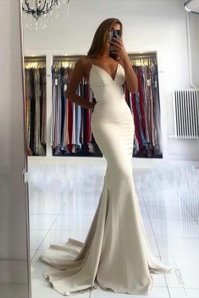 Elegant Long Mermaid V-neck Open Back Satin Prom Dress