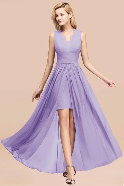 BM0835 Lace Chiffon Jewel Sleeveless Ruffles Short Bridesmaid Dress_21