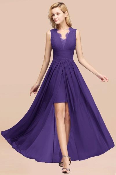 BM0835 Lace Chiffon Jewel Sleeveless Ruffles Short Bridesmaid Dress_19