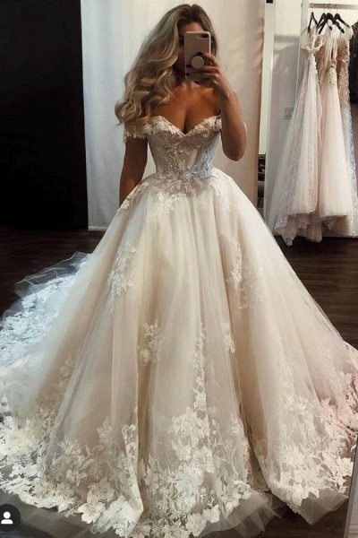 Luxury Long A-line Off-the-shoulder Tulle Lace Wedding Dress