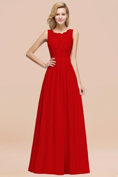BM0834 Chiffon A-Line Lace Scalloped Sleeveless Long Ruffles Bridesmaid Dress_8