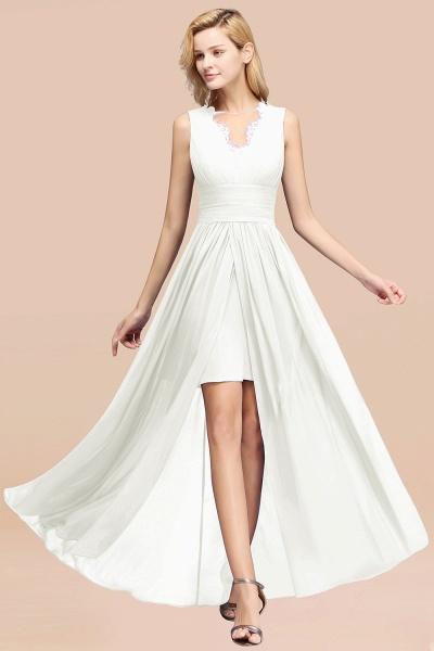 BM0835 Lace Chiffon Jewel Sleeveless Ruffles Short Bridesmaid Dress_2