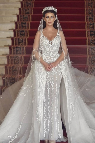 Long Mermaid V-neck Tulle Lace Wedding Dress with Detachable Train