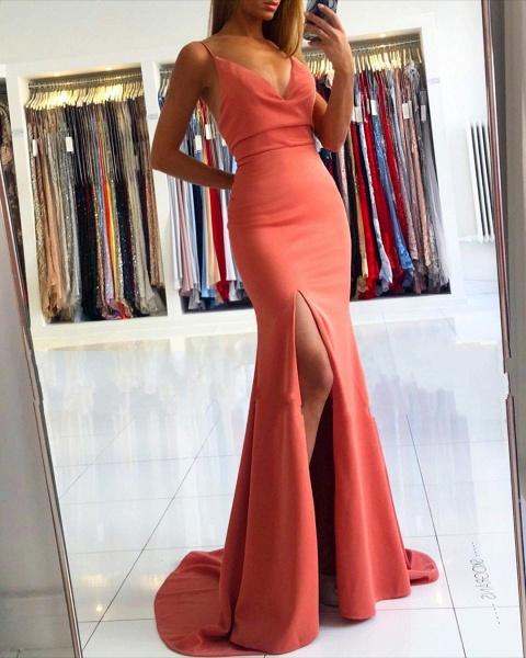 Simple Long Mermaid V-neck Open Back Prom Dress with Slit_2