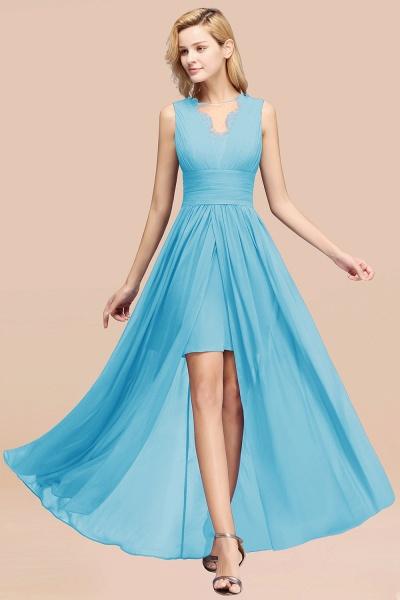 BM0835 Lace Chiffon Jewel Sleeveless Ruffles Short Bridesmaid Dress_24