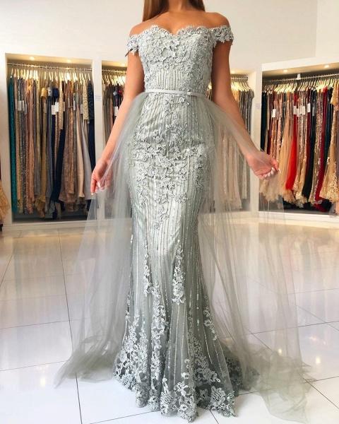 Modest Long Mermaid Off-the-shoulder Glitter Prom Dress_2