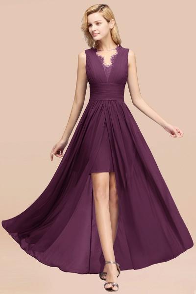 BM0835 Lace Chiffon Jewel Sleeveless Ruffles Short Bridesmaid Dress_20