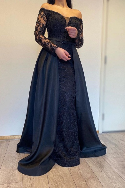 Long A-line Off-the-shoulder Lace Detachable Prom Dress with Sleeves