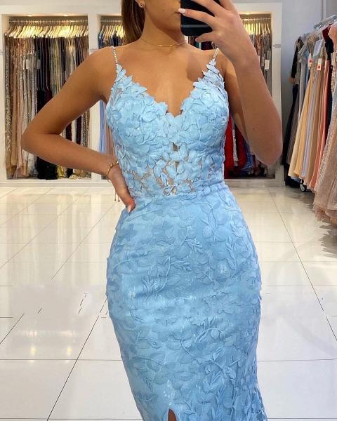 Elegant Long Mermaid V-neck Open Back Lace Prom Dress with slit_6
