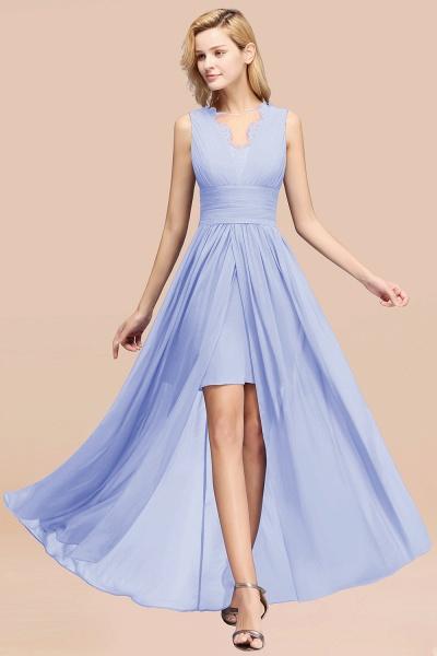 BM0835 Lace Chiffon Jewel Sleeveless Ruffles Short Bridesmaid Dress_22