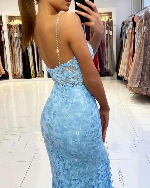 Elegant Long Mermaid V-neck Open Back Lace Prom Dress with slit_4