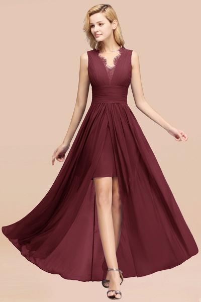 BM0835 Lace Chiffon Jewel Sleeveless Ruffles Short Bridesmaid Dress_10