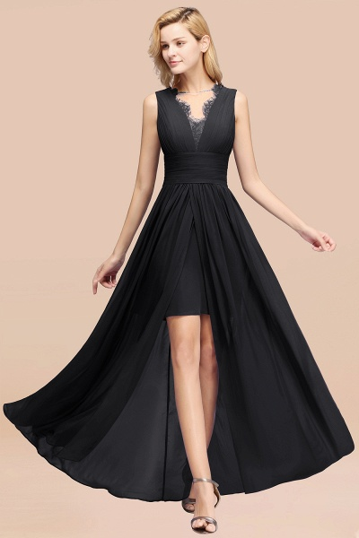BM0835 Lace Chiffon Jewel Sleeveless Ruffles Short Bridesmaid Dress_29