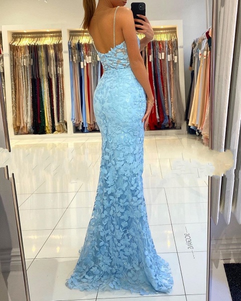 Elegant Long Mermaid V-neck Open Back Lace Prom Dress with slit_5