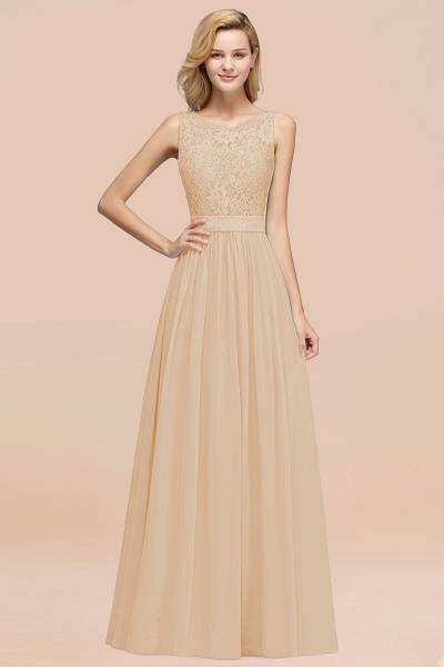 BM0834 Chiffon A-Line Lace Scalloped Sleeveless Long Ruffles Bridesmaid Dress_14