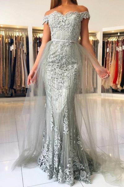 Modest Long Mermaid Off-the-shoulder Glitter Prom Dress