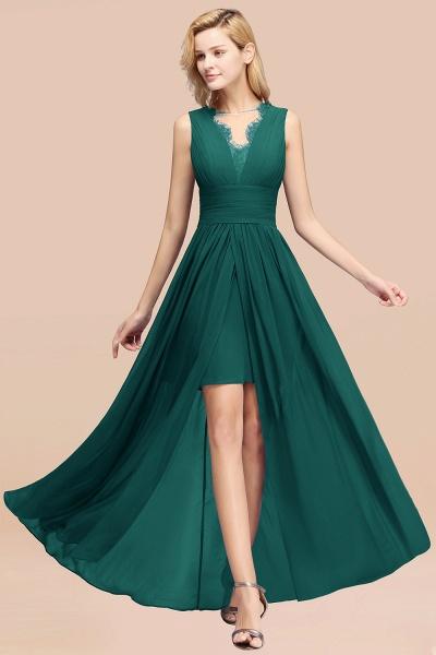 BM0835 Lace Chiffon Jewel Sleeveless Ruffles Short Bridesmaid Dress_33