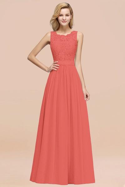 BM0834 Chiffon A-Line Lace Scalloped Sleeveless Long Ruffles Bridesmaid Dress_7