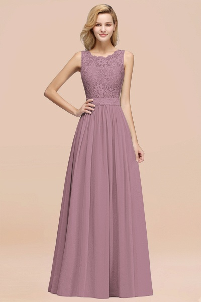BM0834 Chiffon A-Line Lace Scalloped Sleeveless Long Ruffles Bridesmaid Dress_43