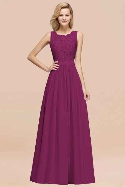 BM0834 Chiffon A-Line Lace Scalloped Sleeveless Long Ruffles Bridesmaid Dress_42