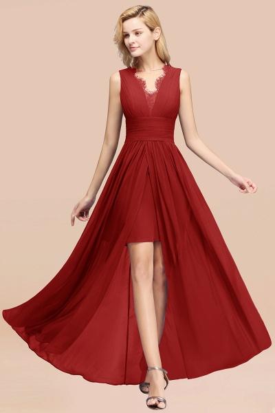 BM0835 Lace Chiffon Jewel Sleeveless Ruffles Short Bridesmaid Dress_48