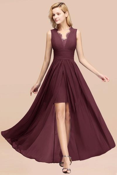 BM0835 Lace Chiffon Jewel Sleeveless Ruffles Short Bridesmaid Dress_47