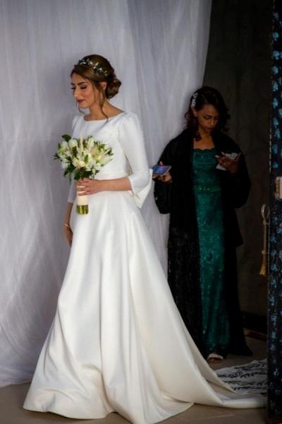 Elegant Long A-line Bateau Satin Wedding Dress with Sleeves