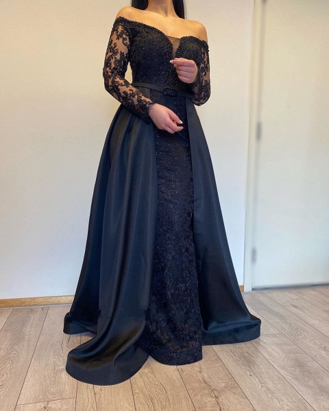 Long A-line Off-the-shoulder Lace Detachable Prom Dress with Sleeves_2