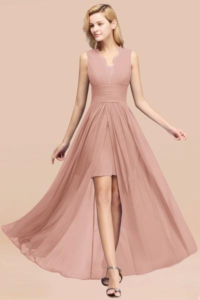 BM0835 Lace Chiffon Jewel Sleeveless Ruffles Short Bridesmaid Dress_6