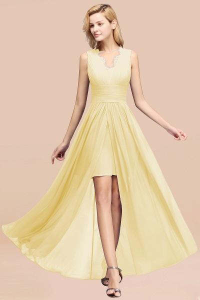 BM0835 Lace Chiffon Jewel Sleeveless Ruffles Short Bridesmaid Dress_18