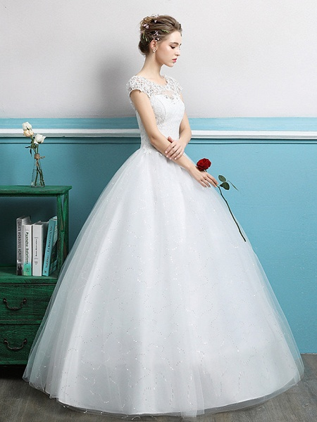 Ball Gown Wedding Dresses Jewel Neck Floor Length Lace Tulle Polyester Short Sleeve Romantic_3