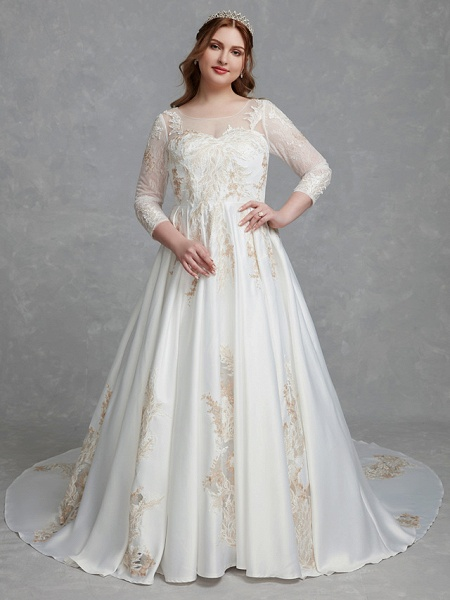 A-Line Wedding Dresses Scoop Neck Court Train Lace Satin Long Sleeve Romantic Glamorous See-Through Illusion Sleeve_5